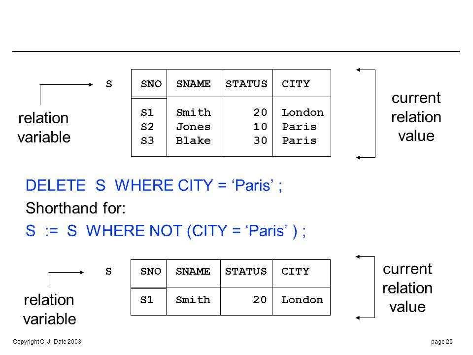 Copyright C. J. Date 2008page 26 S SNO SNAME STATUS CITY S1 Smith 20 London S2 Jones 10 Paris S3 Blake 30 Paris relation variable current relation val