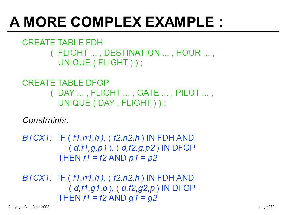 Copyright C. J. Date 2008page 273 CREATE TABLE FDH (FLIGHT..., DESTINATION..., HOUR..., UNIQUE ( FLIGHT ) ) ; CREATE TABLE DFGP (DAY..., FLIGHT..., GA
