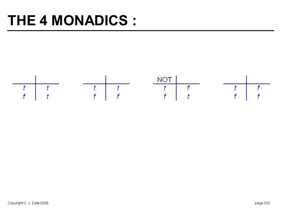 Copyright C. J. Date 2008page 300 THE 4 MONADICS :