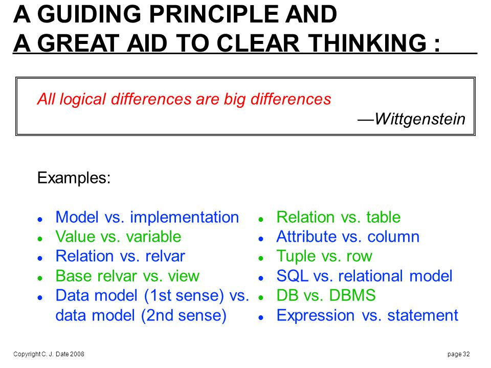 Copyright C. J. Date 2008page 32 A GUIDING PRINCIPLE AND A GREAT AID TO CLEAR THINKING : All logical differences are big differences Wittgenstein Exam