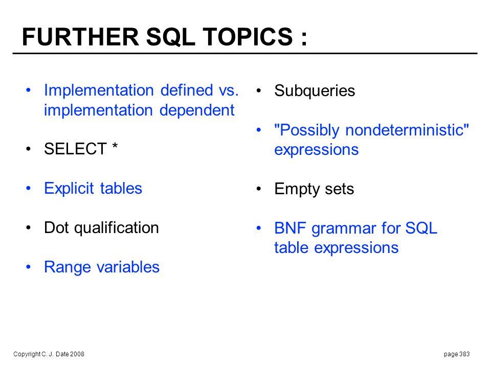 Copyright C. J. Date 2008page 383 Implementation defined vs. implementation dependent SELECT * Explicit tables Dot qualification Range variables FURTH