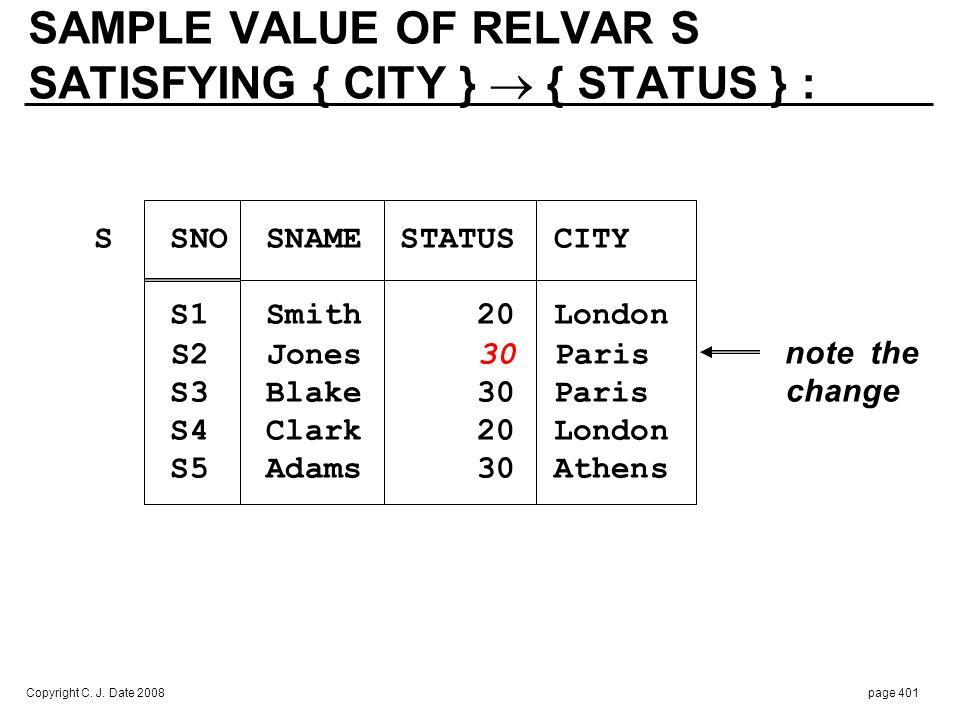 Copyright C. J. Date 2008page 401 SAMPLE VALUE OF RELVAR S SATISFYING { CITY } { STATUS } : S SNO SNAME STATUS CITY S1 Smith 20 London S2 Jones 30 Par