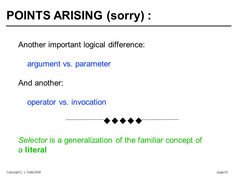 Copyright C. J. Date 2008page 53 POINTS ARISING (sorry) : Another important logical difference: argument vs. parameter And another: operator vs. invoc