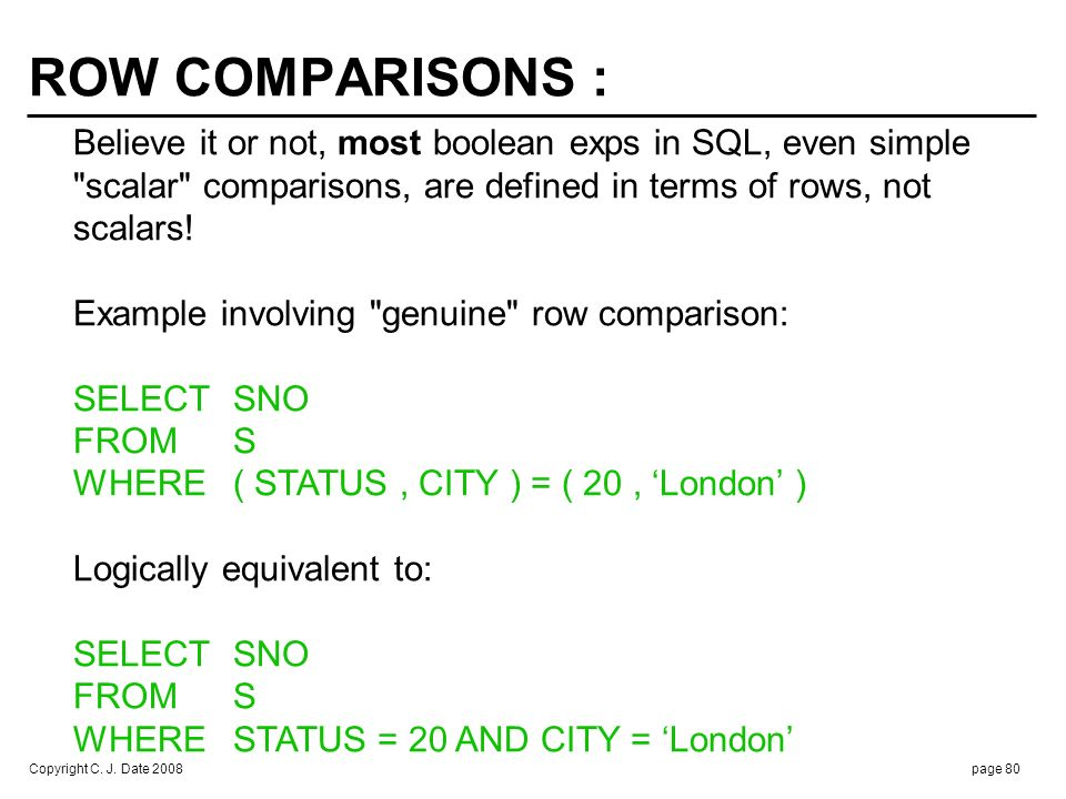 Copyright C. J. Date 2008page 80 ROW COMPARISONS : Believe it or not, most boolean exps in SQL, even simple