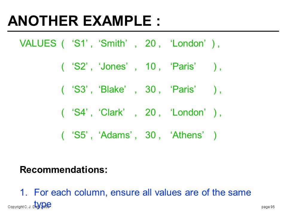 Copyright C. J. Date 2008page 95 ANOTHER EXAMPLE : VALUES(S1, Smith, 20,London ), (S2, Jones, 10,Paris ), (S3, Blake, 30,Paris ), (S4, Clark, 20,Londo