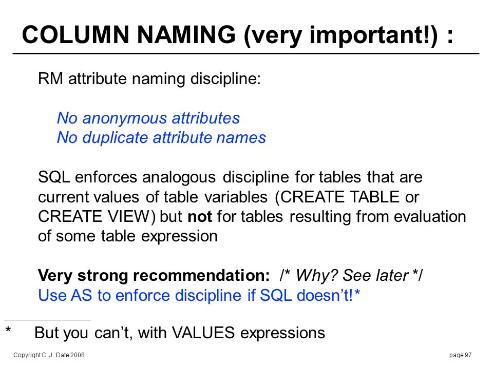 Copyright C. J. Date 2008page 97 COLUMN NAMING (very important!) : RM attribute naming discipline: No anonymous attributes No duplicate attribute name
