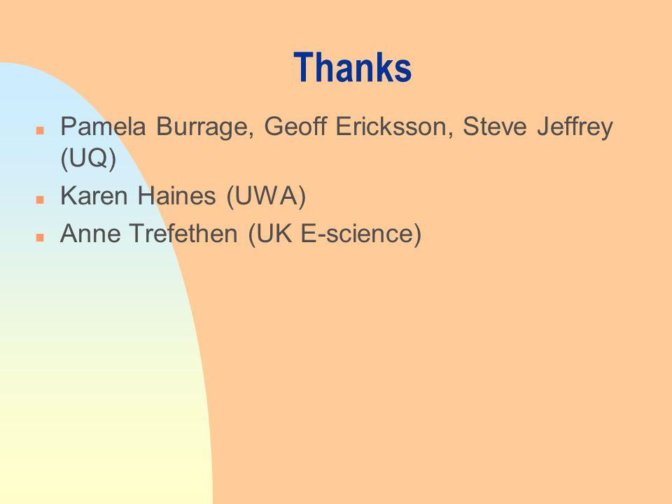 Thanks n Pamela Burrage, Geoff Ericksson, Steve Jeffrey (UQ) n Karen Haines (UWA) n Anne Trefethen (UK E-science)