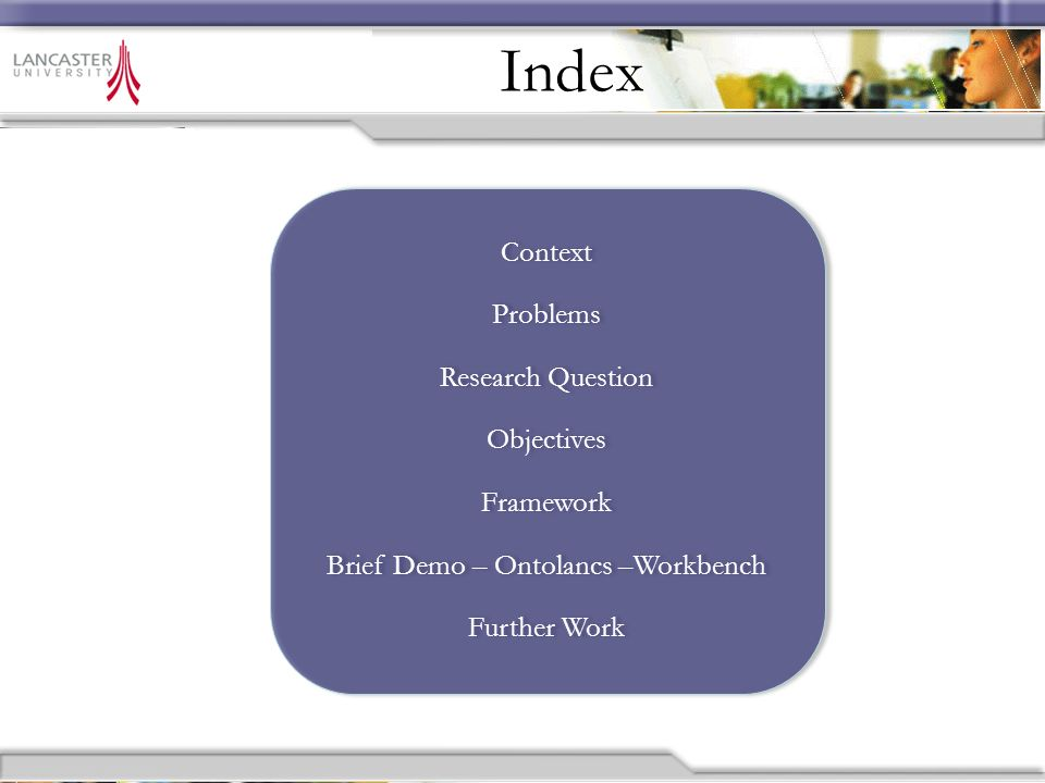 Context Problem Research Question Background Framework Results Demo Conclusions Further Work Index Context Problems Research Question Objectives Framework Brief Demo – Ontolancs –Workbench Further Work Context Problems Research Question Objectives Framework Brief Demo – Ontolancs –Workbench Further Work