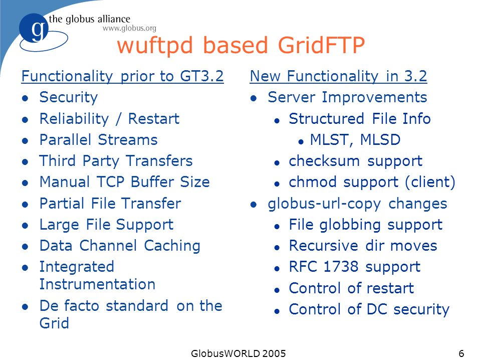 GlobusWORLD 20056 wuftpd based GridFTP Functionality prior to GT3.2 l Security l Reliability / Restart l Parallel Streams l Third Party Transfers l Manual TCP Buffer Size l Partial File Transfer l Large File Support l Data Channel Caching l Integrated Instrumentation l De facto standard on the Grid New Functionality in 3.2 l Server Improvements l Structured File Info l MLST, MLSD l checksum support l chmod support (client) l globus-url-copy changes l File globbing support l Recursive dir moves l RFC 1738 support l Control of restart l Control of DC security