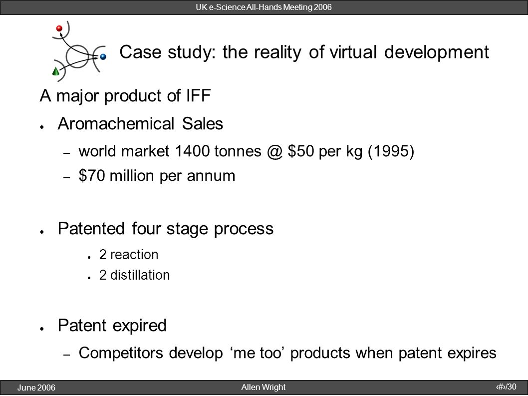 Allen Wright June 2006 12/30 UK e-Science All-Hands Meeting 2006 Case study: the reality of virtual development A major product of IFF Aromachemical S