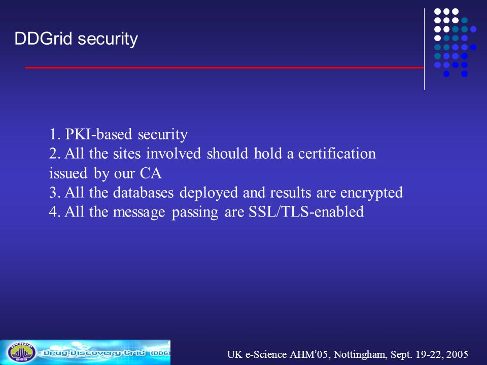UK e-Science AHM 05, Nottingham, Sept. 19-22, 2005 DDGrid security 1.