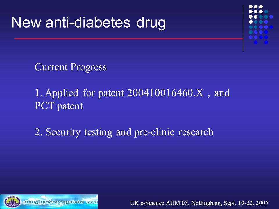 UK e-Science AHM 05, Nottingham, Sept. 19-22, 2005 New anti-diabetes drug Current Progress 1.