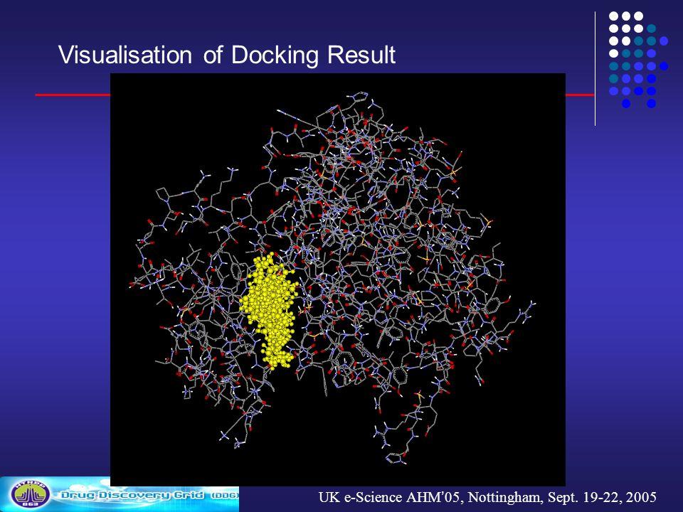 UK e-Science AHM 05, Nottingham, Sept. 19-22, 2005 Visualisation of Docking Result
