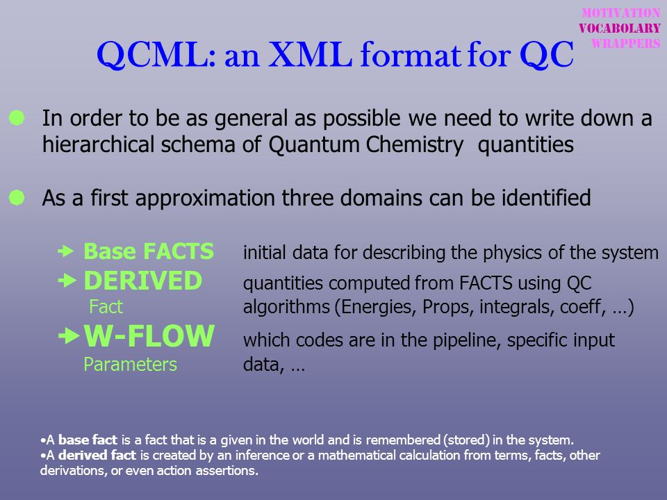 QCML: an XML format for QC In order to be as general as possible we need to write down a hierarchical schema of Quantum Chemistry quantities As a firs