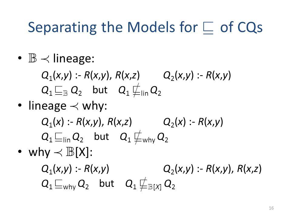 Separating the Models for v of CQs B Á lineage: Q 1 (x,y) :- R(x,y), R(x,z) Q 2 (x,y) :- R(x,y) Q 1 v B Q 2 but Q 1 v lin Q 2 lineage Á why: Q 1 (x) :