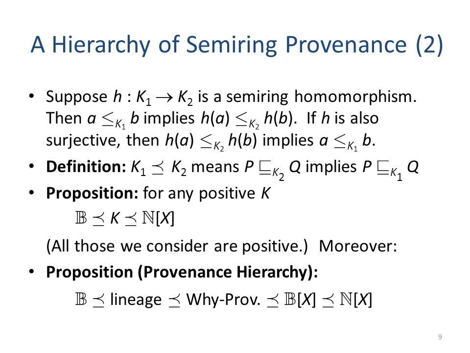 A Hierarchy of Semiring Provenance (2) Suppose h : K 1 K 2 is a semiring homomorphism.