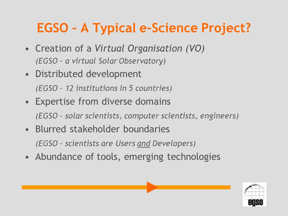EGSO – A Typical e-Science Project.
