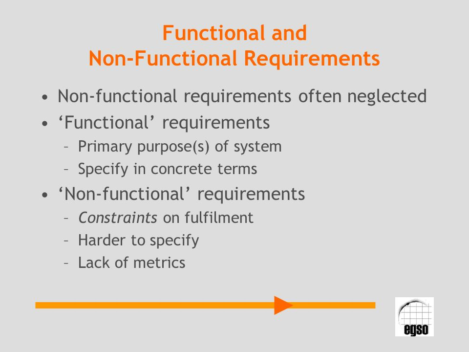 Functional and Non-Functional Requirements Non-functional requirements often neglected Functional requirements –Primary purpose(s) of system –Specify