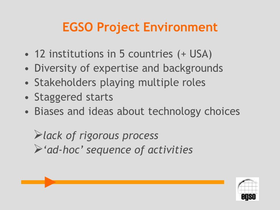 EGSO Project Environment 12 institutions in 5 countries (+ USA) Diversity of expertise and backgrounds Stakeholders playing multiple roles Staggered s