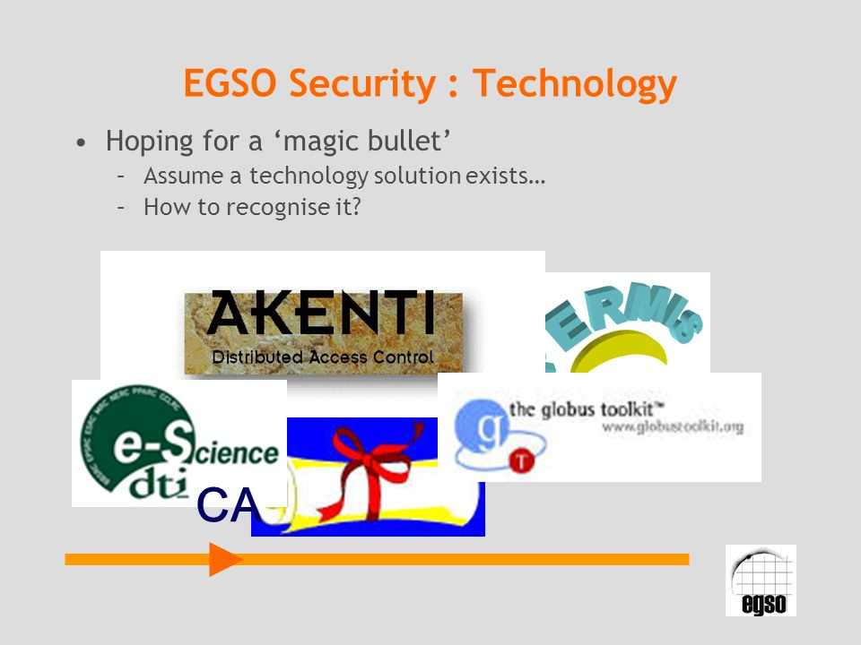 EGSO Security : Technology Hoping for a magic bullet –Assume a technology solution exists… –How to recognise it? CA