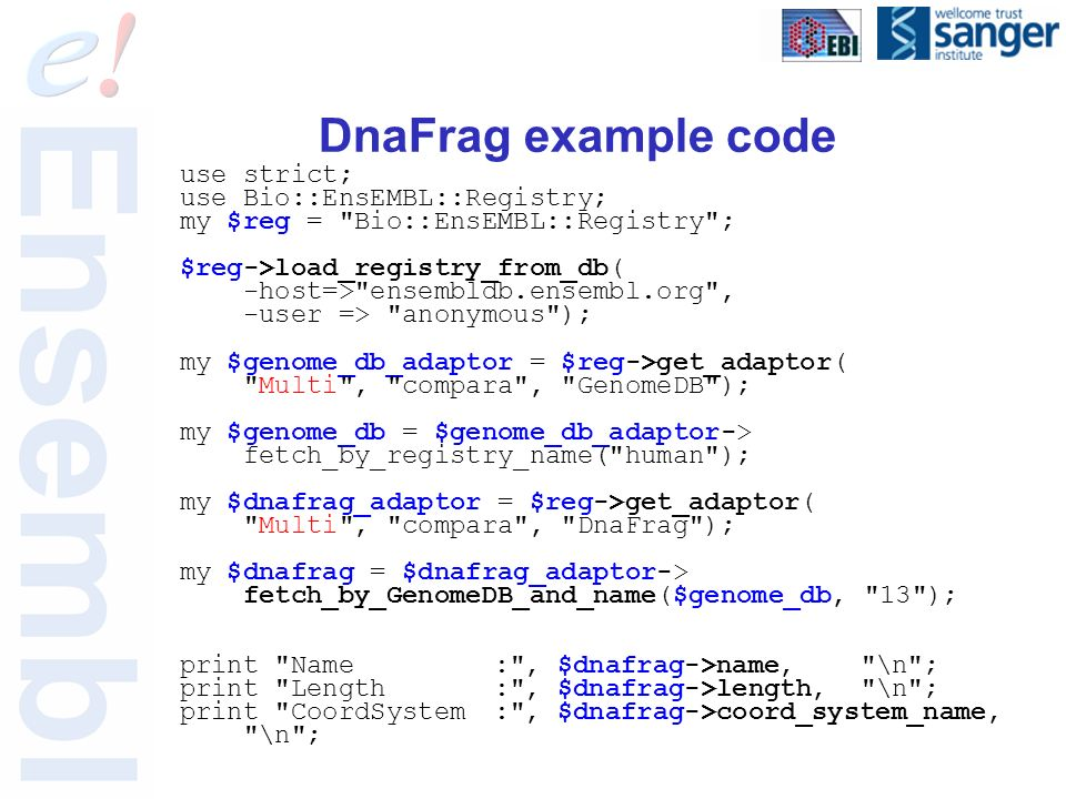 DnaFrag example code use strict; use Bio::EnsEMBL::Registry; my $reg = Bio::EnsEMBL::Registry ; $reg->load_registry_from_db( -host=> ensembldb.ensembl.org , -user => anonymous ); my $genome_db_adaptor = $reg->get_adaptor( Multi , compara , GenomeDB ); my $genome_db = $genome_db_adaptor-> fetch_by_registry_name( human ); my $dnafrag_adaptor = $reg->get_adaptor( Multi , compara , DnaFrag ); my $dnafrag = $dnafrag_adaptor-> fetch_by_GenomeDB_and_name($genome_db, 13 ); print Name: , $dnafrag->name, \n ; print Length: , $dnafrag->length, \n ; print CoordSystem: , $dnafrag->coord_system_name, \n ;