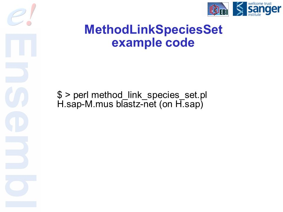MethodLinkSpeciesSet example code $ > perl method_link_species_set.pl H.sap-M.mus blastz-net (on H.sap)
