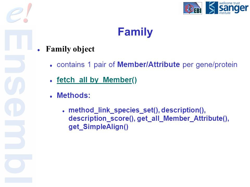 Family Family object contains 1 pair of Member/Attribute per gene/protein fetch_all by_Member() Methods: method_link_species_set(), description(), description_score(), get_all_Member_Attribute(), get_SimpleAlign()