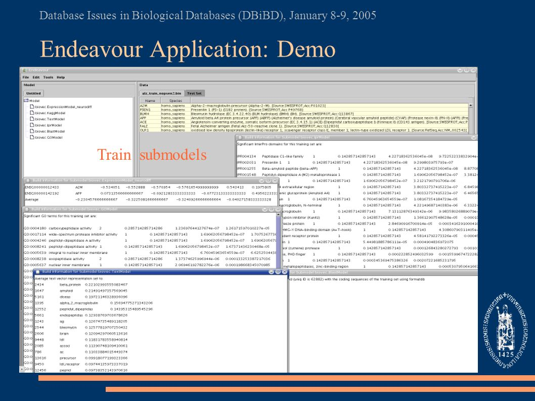 Database Issues in Biological Databases (DBiBD), January 8-9, 2005 Endeavour Application: Demo Train submodels