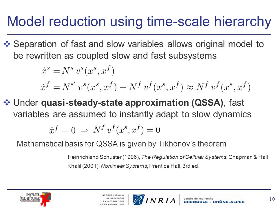 Model reduction using time-scale hierarchy vSeparation of fast and slow variables allows original model to be rewritten as coupled slow and fast subsy