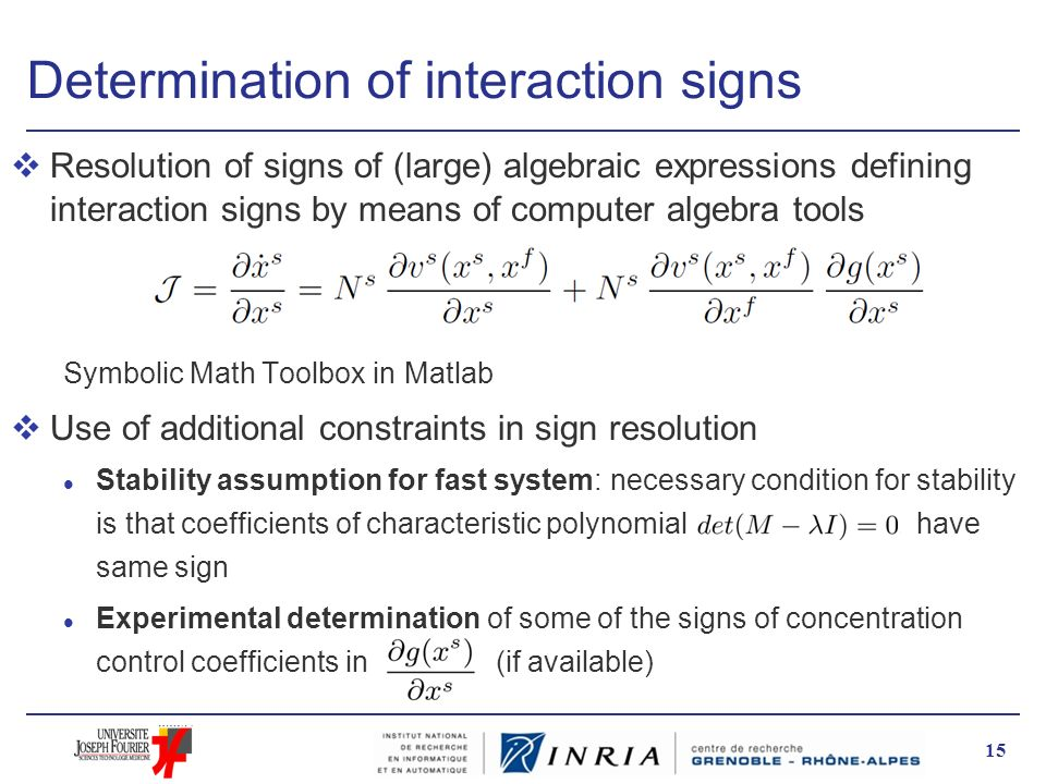 Determination of interaction signs vResolution of signs of (large) algebraic expressions defining interaction signs by means of computer algebra tools