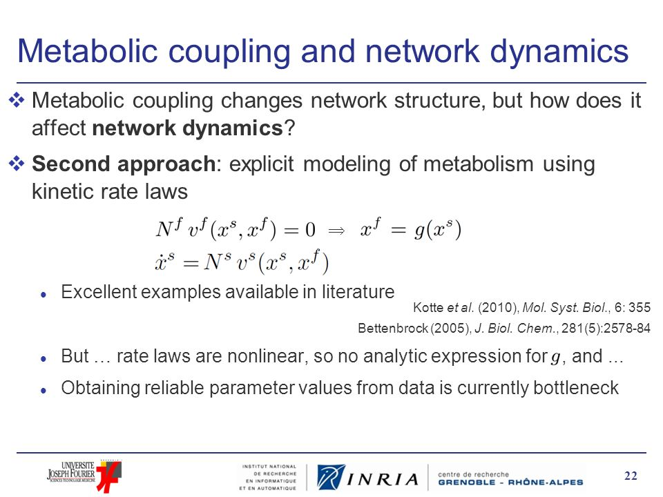 Metabolic coupling and network dynamics vMetabolic coupling changes network structure, but how does it affect network dynamics? vSecond approach: expl