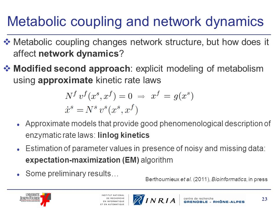 Metabolic coupling and network dynamics vMetabolic coupling changes network structure, but how does it affect network dynamics? vModified second appro