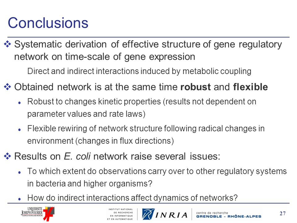 Conclusions vSystematic derivation of effective structure of gene regulatory network on time-scale of gene expression Direct and indirect interactions