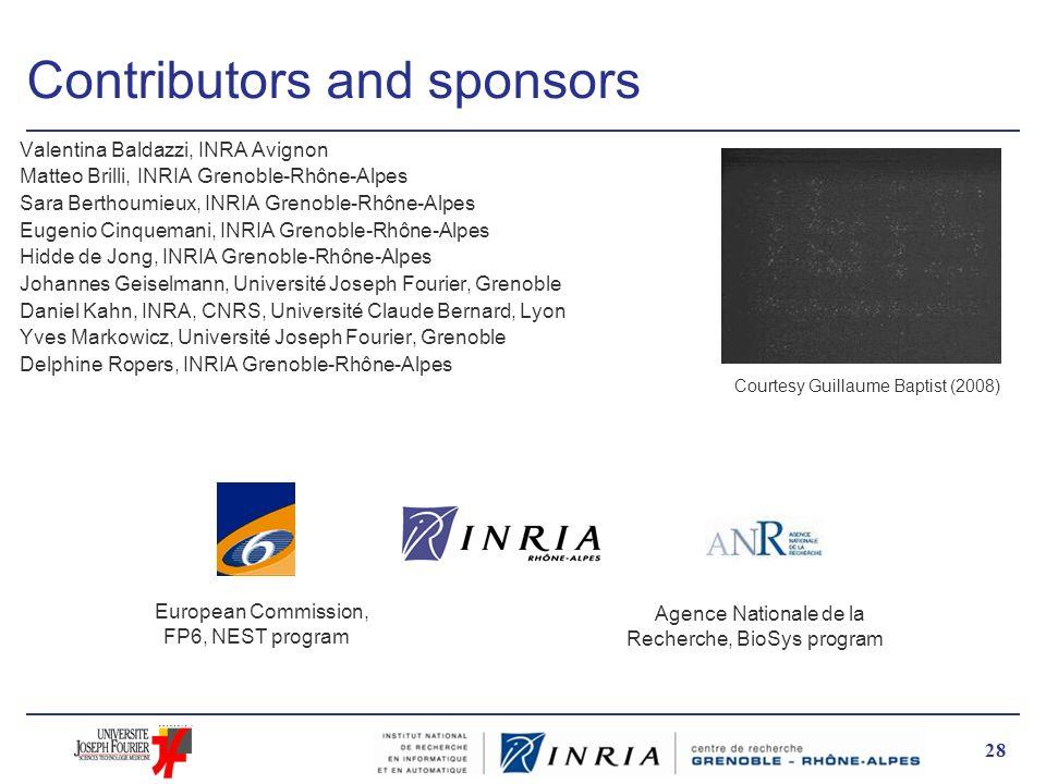 28 Contributors and sponsors Valentina Baldazzi, INRA Avignon Matteo Brilli, INRIA Grenoble-Rhône-Alpes Sara Berthoumieux, INRIA Grenoble-Rhône-Alpes
