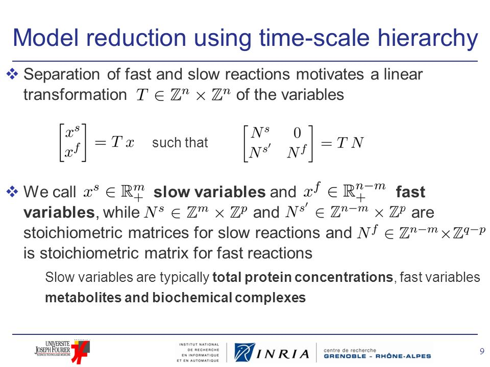 Model reduction using time-scale hierarchy vSeparation of fast and slow reactions motivates a linear transformation of the variables such that vWe cal