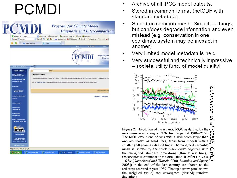 PCMDI Archive of all IPCC model outputs. Stored in common format (netCDF with standard metadata). Stored on common mesh. Simplifies things, but can/do