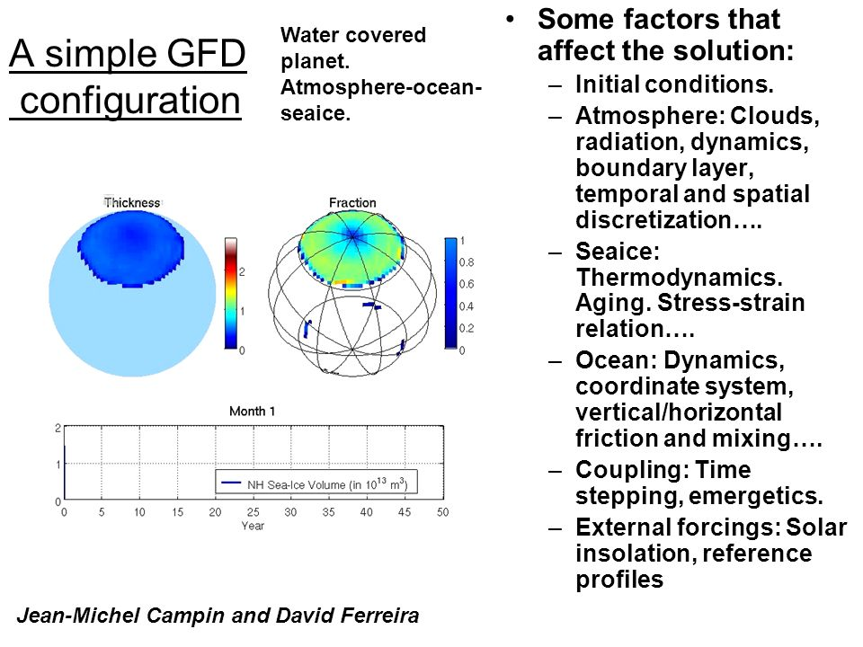 A simple GFD configuration Some factors that affect the solution: –Initial conditions.
