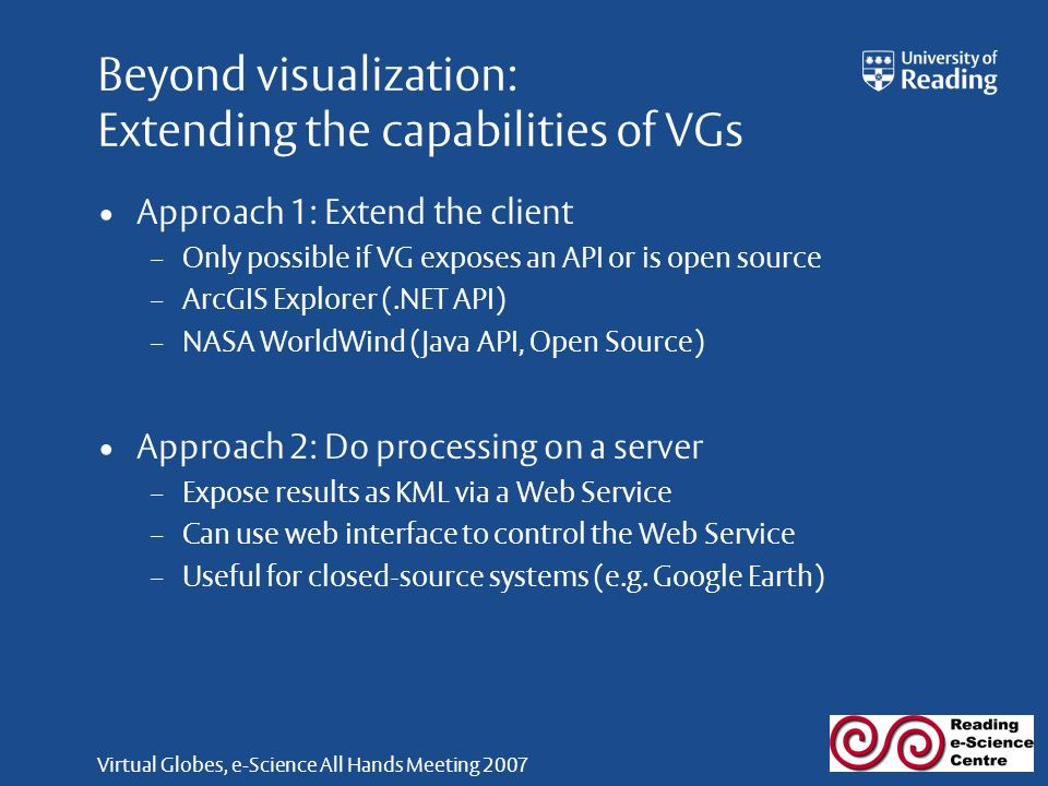 Virtual Globes, e-Science All Hands Meeting 2007 Beyond visualization: Extending the capabilities of VGs Approach 1: Extend the client – Only possible if VG exposes an API or is open source – ArcGIS Explorer (.NET API) – NASA WorldWind (Java API, Open Source) Approach 2: Do processing on a server – Expose results as KML via a Web Service – Can use web interface to control the Web Service – Useful for closed-source systems (e.g.