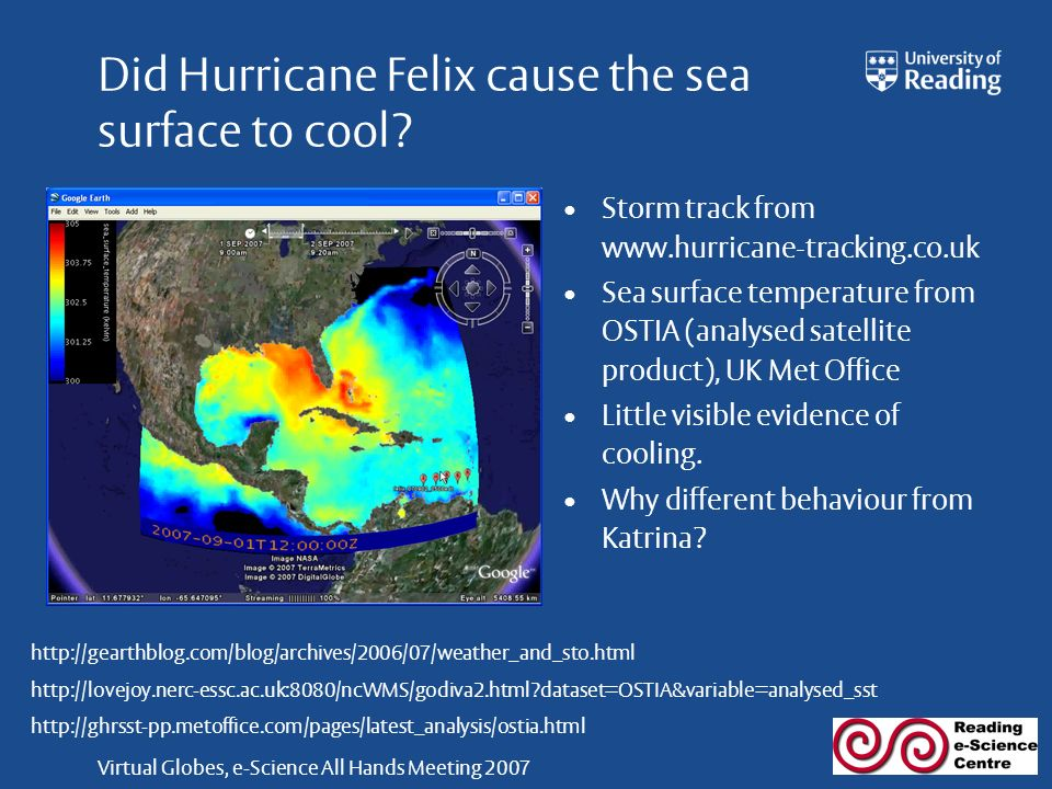 Virtual Globes, e-Science All Hands Meeting 2007 Did Hurricane Felix cause the sea surface to cool.