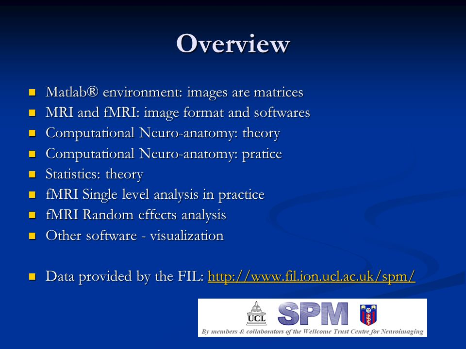 Overview Matlab® environment: images are matrices Matlab® environment: images are matrices MRI and fMRI: image format and softwares MRI and fMRI: imag