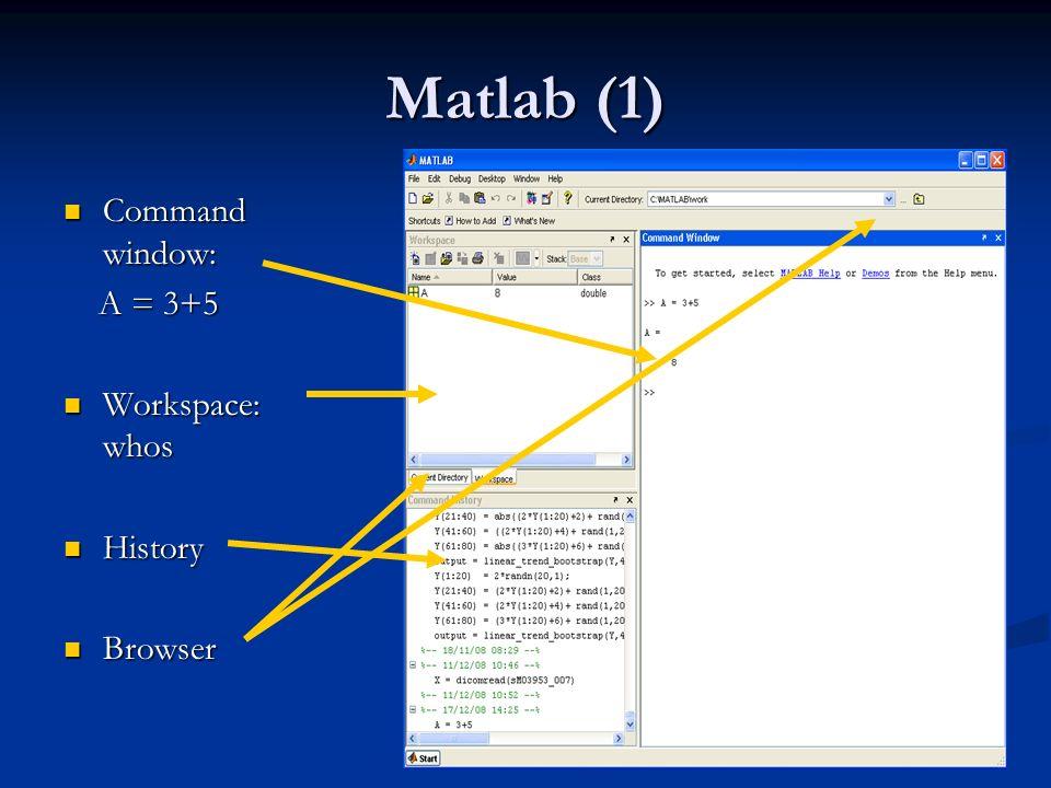 Matlab (1) Command window: Command window: A = 3+5 A = 3+5 Workspace: whos Workspace: whos History History Browser Browser