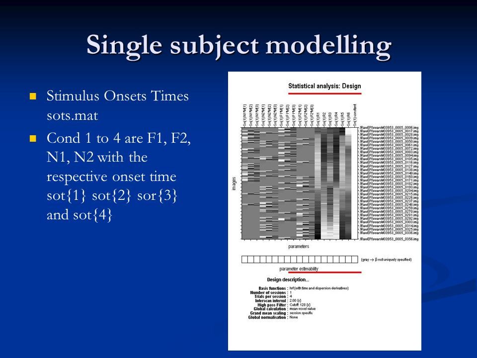 Single subject modelling Stimulus Onsets Times sots.mat Cond 1 to 4 are F1, F2, N1, N2 with the respective onset time sot{1} sot{2} sor{3} and sot{4}