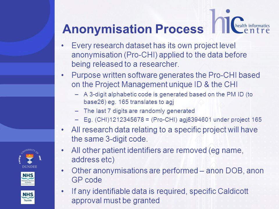 Anonymisation Process Every research dataset has its own project level anonymisation (Pro-CHI) applied to the data before being released to a research