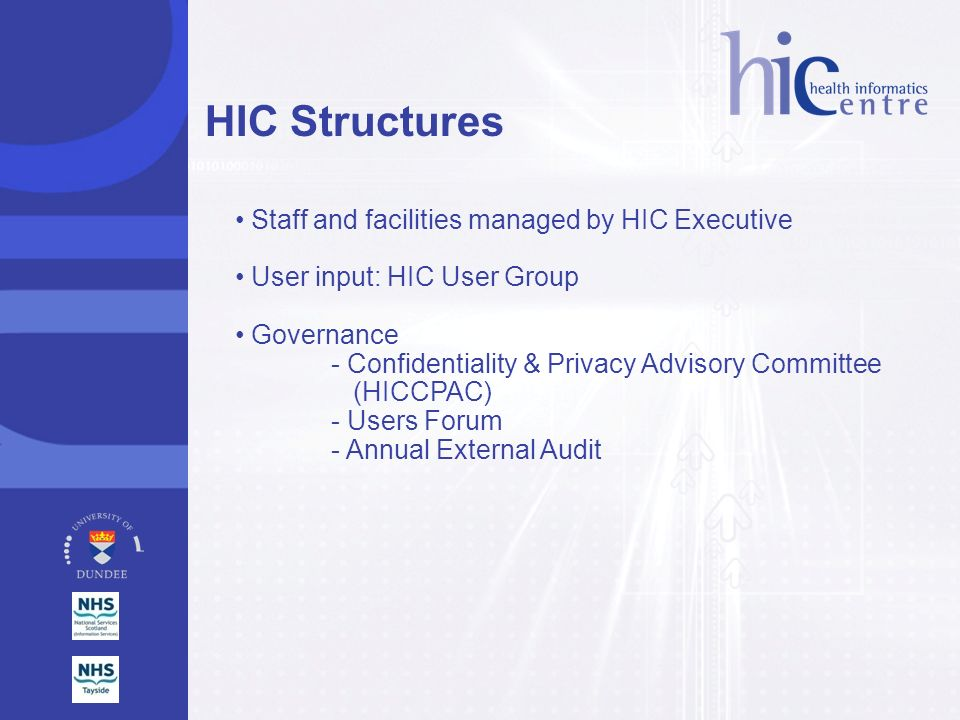 Staff and facilities managed by HIC Executive User input: HIC User Group Governance - Confidentiality & Privacy Advisory Committee (HICCPAC) - Users F