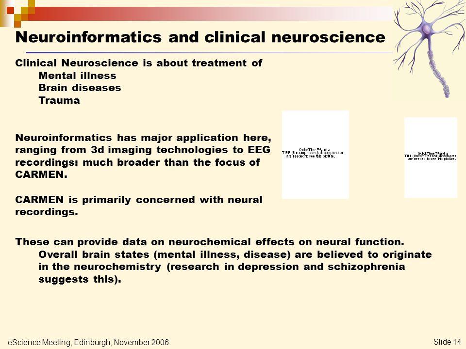 eScience Meeting, Edinburgh, November 2006. Slide 14 Neuroinformatics and clinical neuroscience Clinical Neuroscience is about treatment of Mental ill