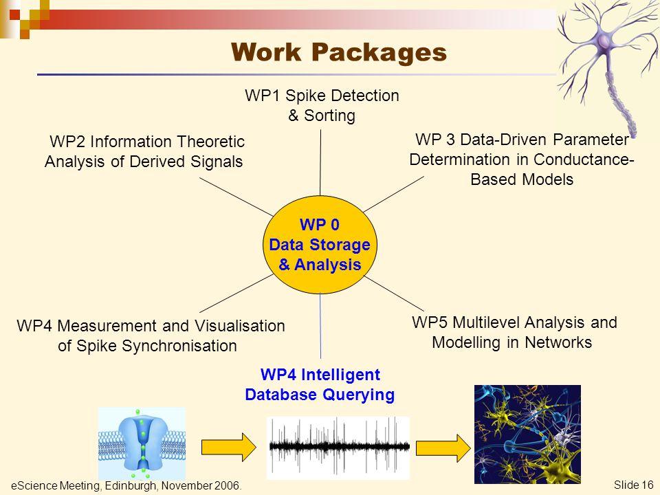 eScience Meeting, Edinburgh, November 2006. Slide 16 Work Packages WP 0 Data Storage & Analysis WP1 Spike Detection & Sorting WP2 Information Theoreti