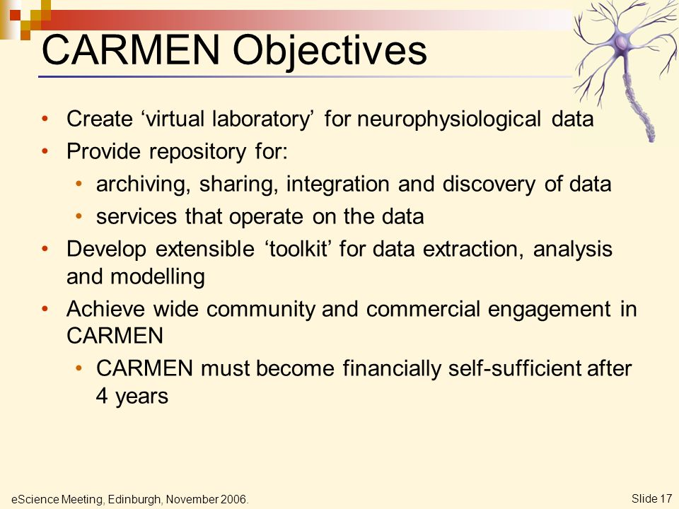 eScience Meeting, Edinburgh, November 2006. Slide 17 CARMEN Objectives Create virtual laboratory for neurophysiological data Provide repository for: a