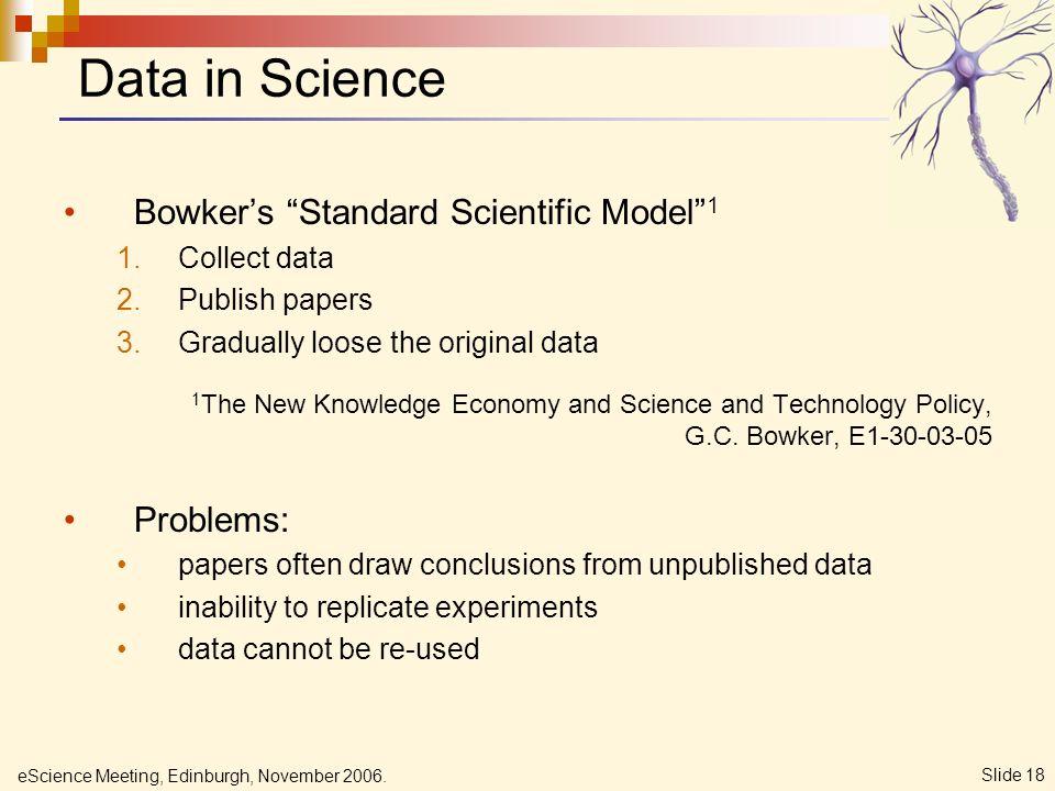 eScience Meeting, Edinburgh, November 2006. Slide 18 Bowkers Standard Scientific Model 1 1.Collect data 2.Publish papers 3.Gradually loose the origina