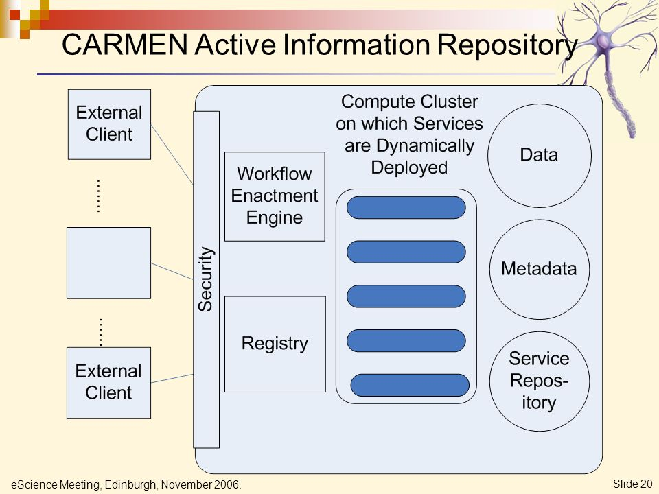 eScience Meeting, Edinburgh, November 2006. Slide 20 CARMEN Active Information Repository