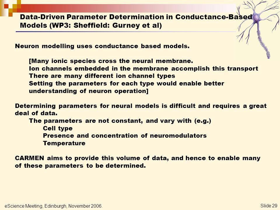 eScience Meeting, Edinburgh, November 2006. Slide 29 Data-Driven Parameter Determination in Conductance-Based Models (WP3: Sheffield: Gurney et al) Ne